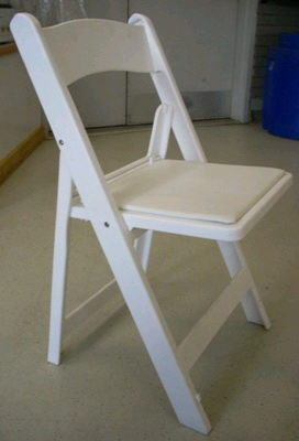 Where to find CHAIR, WHITE CUSHION FOLDING in Burnsville