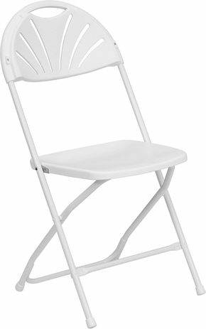 Where to find CHAIR, WHITE FOLDING FANBACK in Burnsville